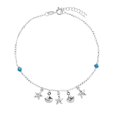 SL-Silver 925 Silver Foot Chain Anklets 23-25 cm Starfish 925 Sterling Silver mSWFuVAqx