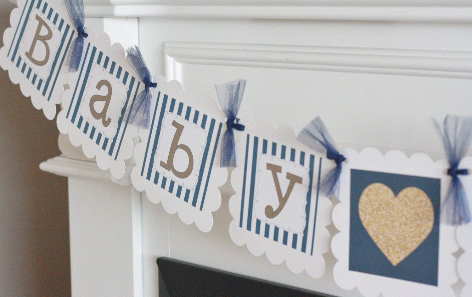 Party Packages Banners Door Signs Available Gold Heart Baby Shower Cupcake Toppers Navy Blue White /& Gold Stripe Favor Tags 12