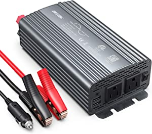 BESTEK 500W Pure Sine Wave Power Inverter DC 12V to 110V AC Car Plug Inverter Adapter Power Converter with 4.2A Dual USB Charging Ports and 2 AC Outlets Car Charger, ETL Listed, Grey