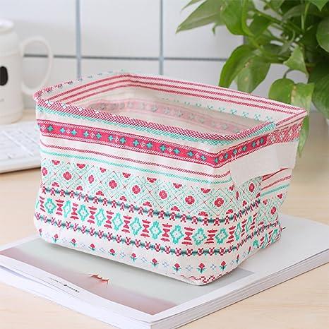 Pack de 3 Cestas Cuboid de almacenamiento portátil para baño, impermeables, color rojo,