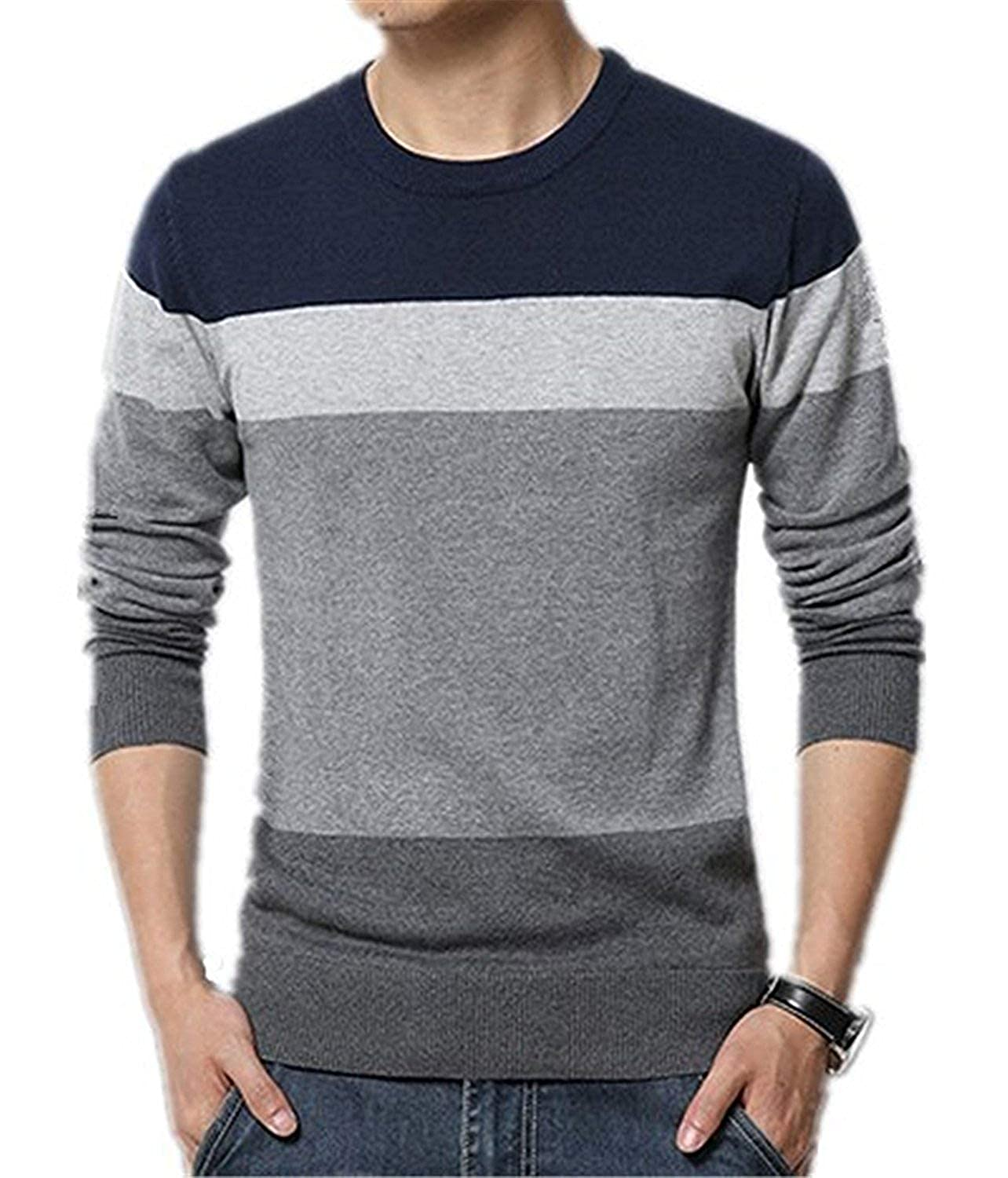Onin Autumn Sweater O-Neck Striped Slim Fit Knitting Mens Sweaters and Pullovers M-5XL
