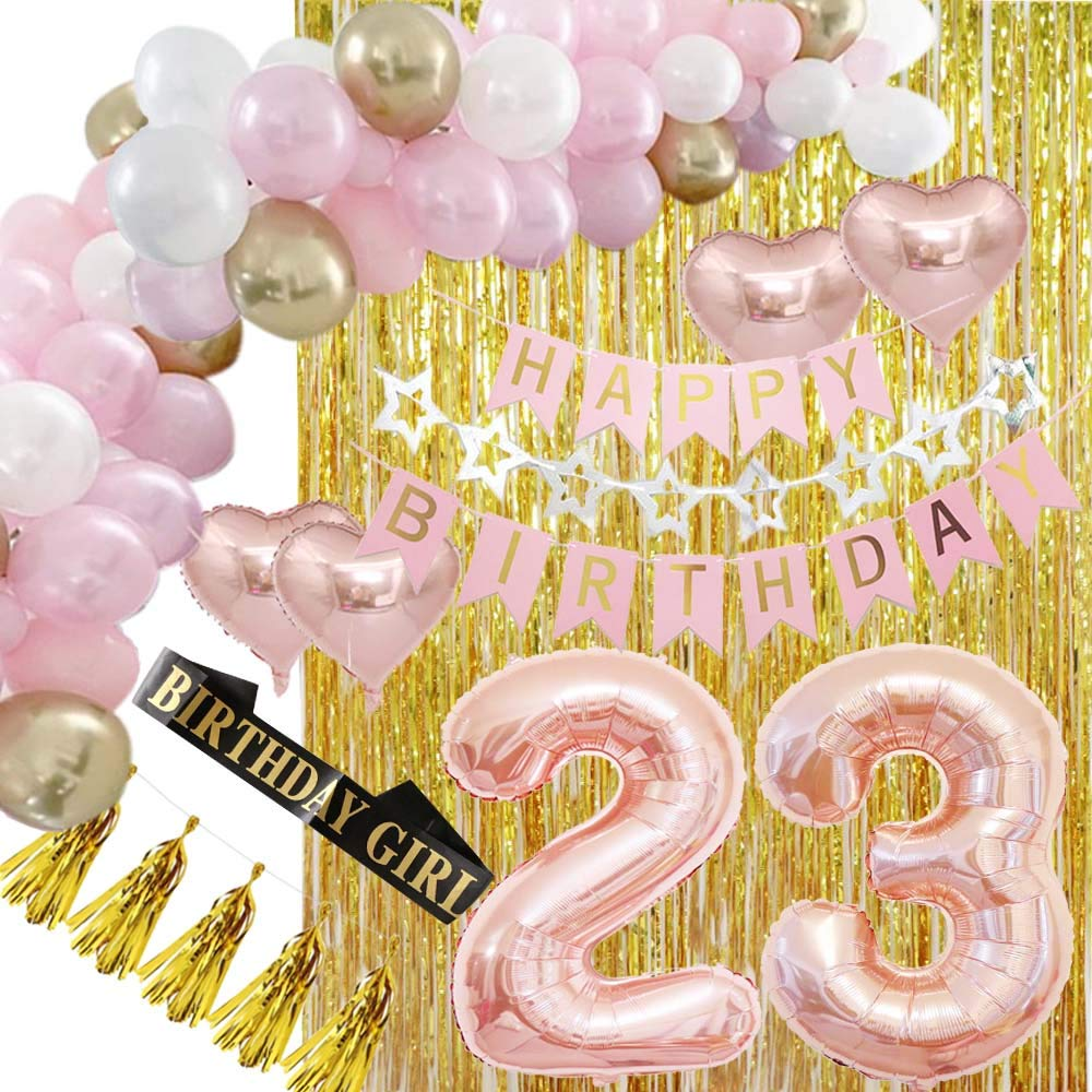Happy 23rd Birthday Decorations Party Supplies Rose Gold-DIY Balloon Garland Kit, Happy Birthday Banners, Gold Metallic Fringe Curtains as Backdrops for Women, Her Girls and Anniversary Even