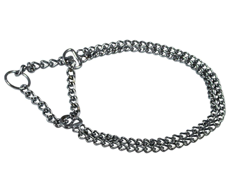 T-Pet Chrome Double Chain Dog Collar 12  Martingale 2.4mm
