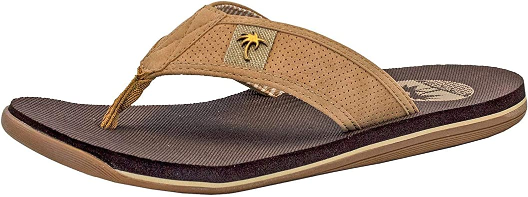 MENS AMERICAN EAGLE BROWN FLIP FLOPS ~ CANVAS NEW IN PACKAGE ~ SIZE 11 12 13 14
