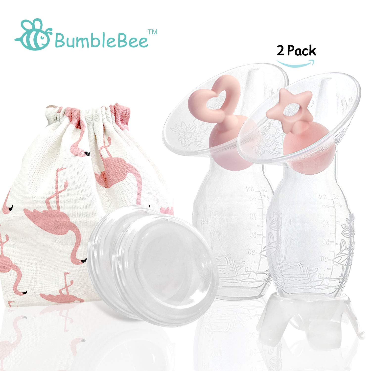 Bumblebee Manual Breast Pump with 2 Pack Breastfeeding Milk Saver Pink Star &Heart Stopper& lid in Gift Box Breastpump 100% Food Grade Silicone bpa PVC and Phthalate Free