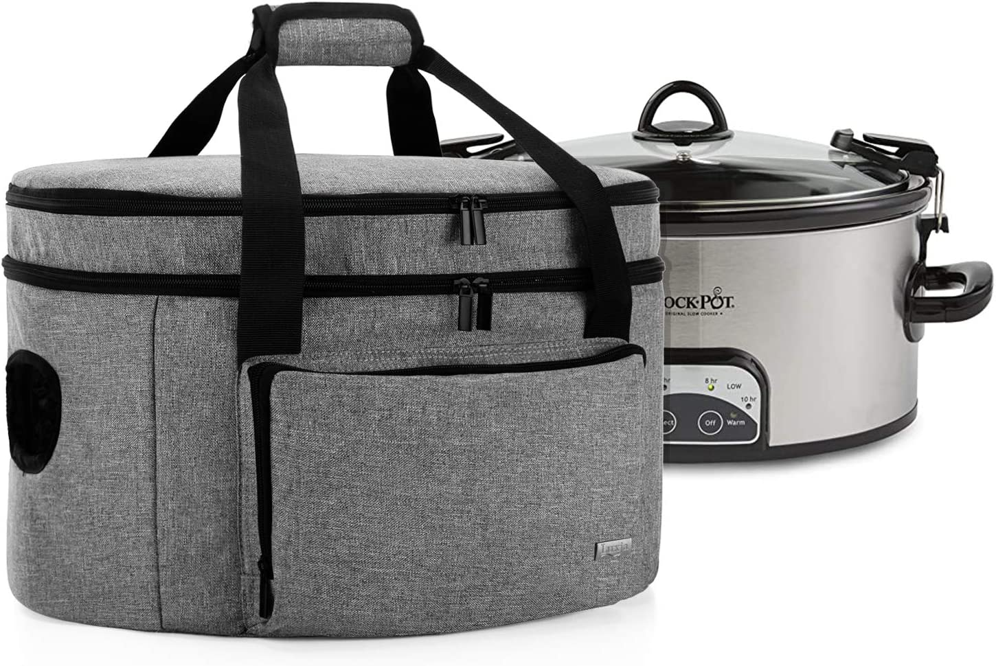 Luxja Double Layers Slow Cooker Bag (with a Bottom Pad and Lid Fasten Straps), Insulated Slow Cooker Carrier Fits for Most 6-8 Quart Oval Slow Cooker, Gray (Bag Only)