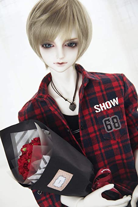Black SIMONLIN BJD Doll Clothes Long Casual Print Plaid Shirt for Ordinary Uncle Doll SD17 Male Dolls