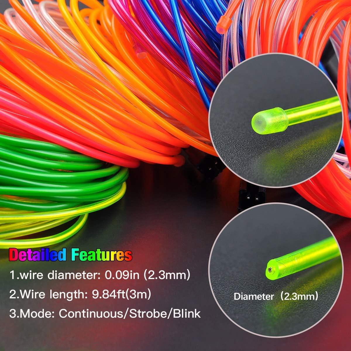 EL Wire Songway Draht Neon Leuchtschnur EL Kabel euchtkabel Neon Wire Leuchtende Strobing Elektrolumineszenz mit 3 Modes f/ür Halloween Weihnachtsfeiern und Partybeleuchtung Blau, 3M