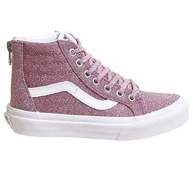 ddbecf875d96 Amazon.com   Vans Kids' Sk8-Hi Zip-K (Lurex Glitter Pink/True 10.5)    Sneakers