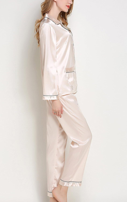 Sihuan Mujer Pijama de 2 Piezas Camis/ón de Sat/én Ropa de Dormir Manga Larga Elegante Ligero Suave