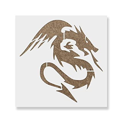 graphic about Dragon Stencils Printable referred to as Dragon Stencil Template - Reusable Stencil with Various Dimensions Out there