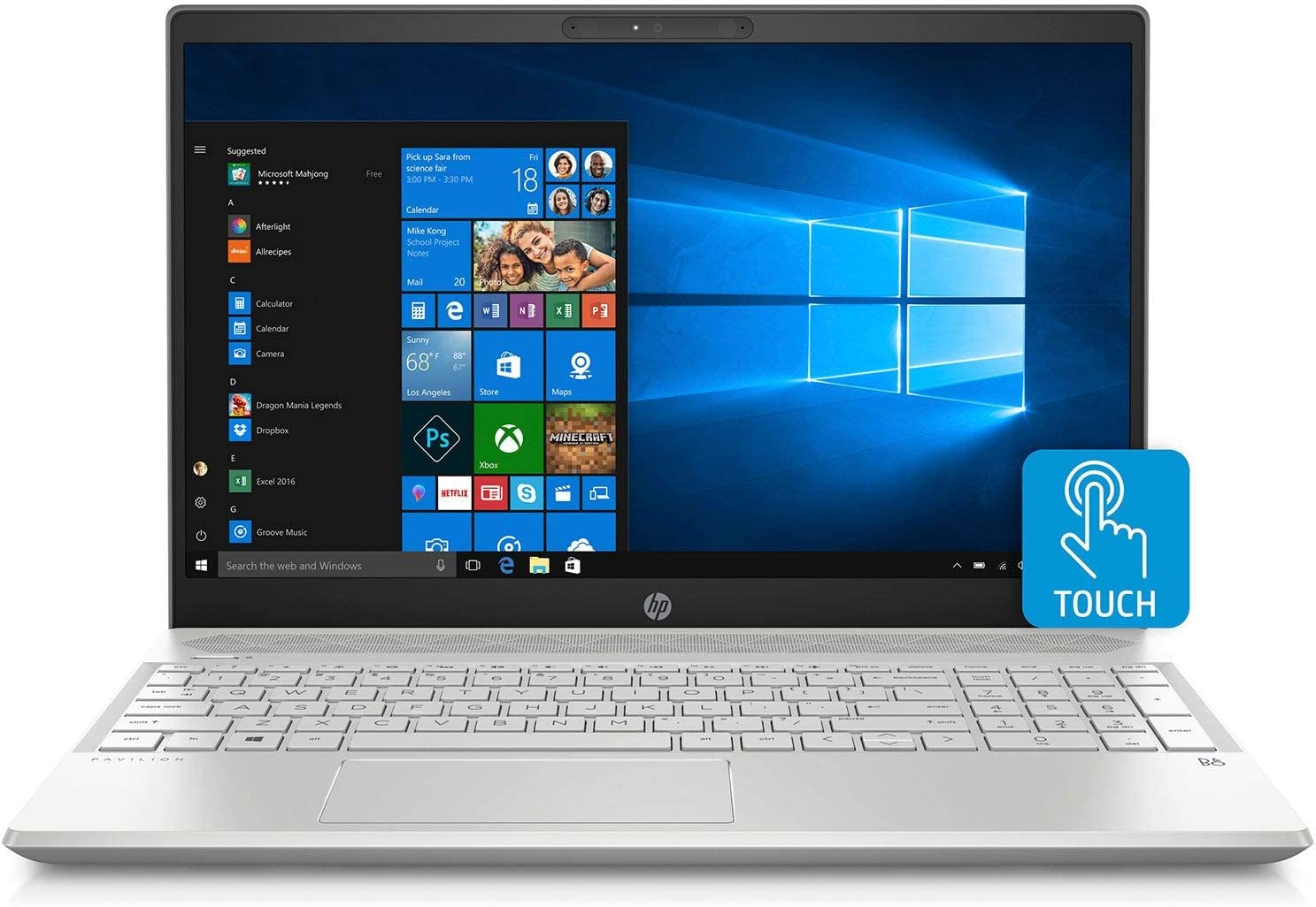 "Flagship 2019 HP Pavilion Business 15.6"" FHD IPS Micro-Edge Touchscreen Laptop-Intel Quad-Core i7-8550U 16G DDR4 256G SSD+2TB HDD Backlit Keyboard 802.11ac Bluetooth HDMI B&O Webcam USB Type-C Win 10"