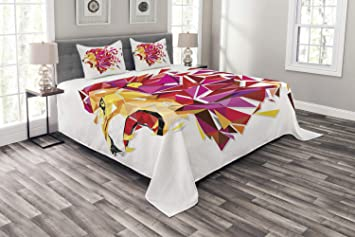 Ambesonne Bedspread Set with 2 Shams Decorative Printed 3 Piece