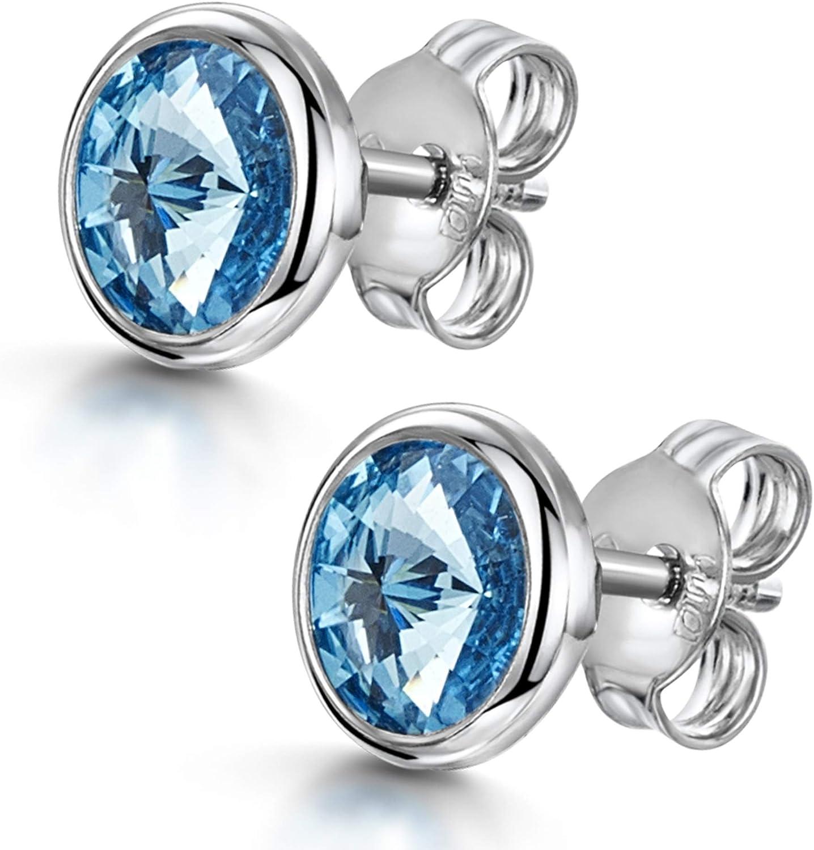 Amberta Joyas - Pendientes de botón en Plata de Primera Ley 925 con Auténticos Cristales de Swarovski para Mujer - Engarce de Bisel - Cristal Rivoli en Varios Colores - Hipoalergénicos