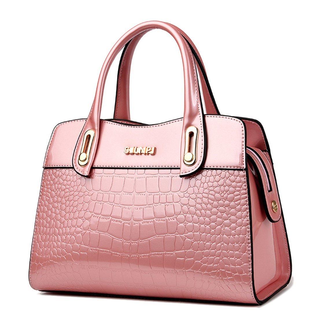 7c2829850dad9 Sabarry Damen Lack Handtasche Leder Wasserdichte Tasche PU Tragetaschen  (Beige)