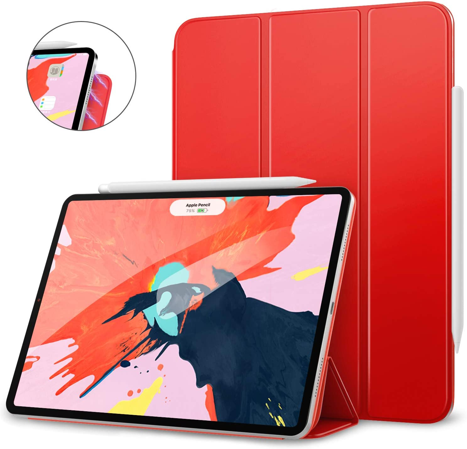 """MoKo Smart Folio Case Fit iPad Pro 12.9"""" 2018 - [Support Magnetically Attach Charge/Pair] Slim Lightweight Smart Shell Stand Cover, Strong Magnetic Adsorption, Auto Wake/Sleep - Red"""