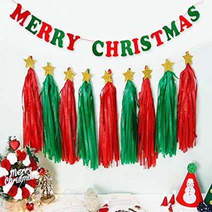 Paper Christmas Decorations.Amazon Com Ginfonr Christmas Crepe Paper Streamers