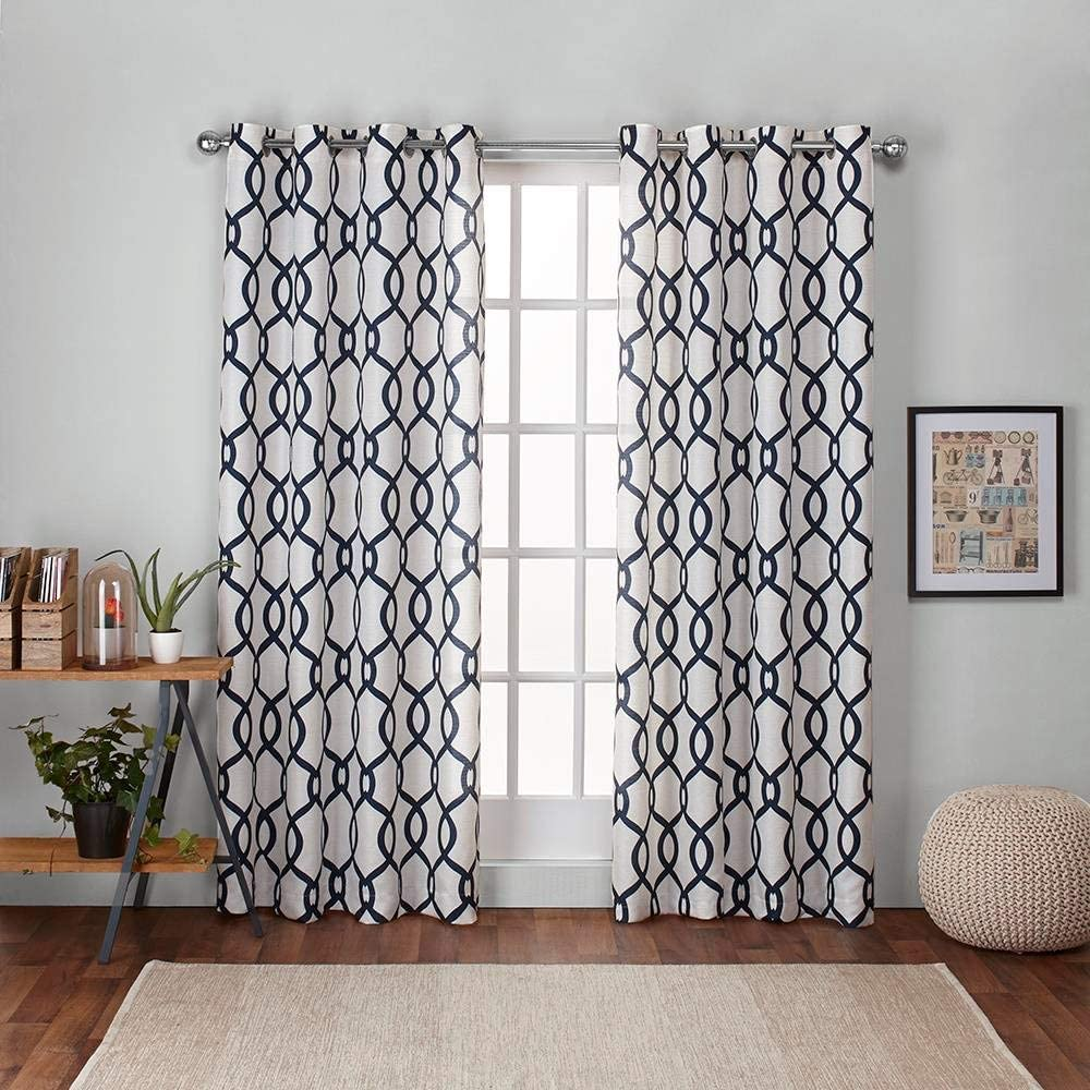 Exclusive Home Curtains Kochi Linen Blend Window Curtain Panel Pair with Grommet Top, 54x84, Indigo, 2 Piece