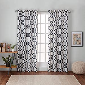 Exclusive Home Curtains Kochi Linen Blend Window Curtain Panel Pair with Grommet Top, 54x96, Indigo, 2 Piece