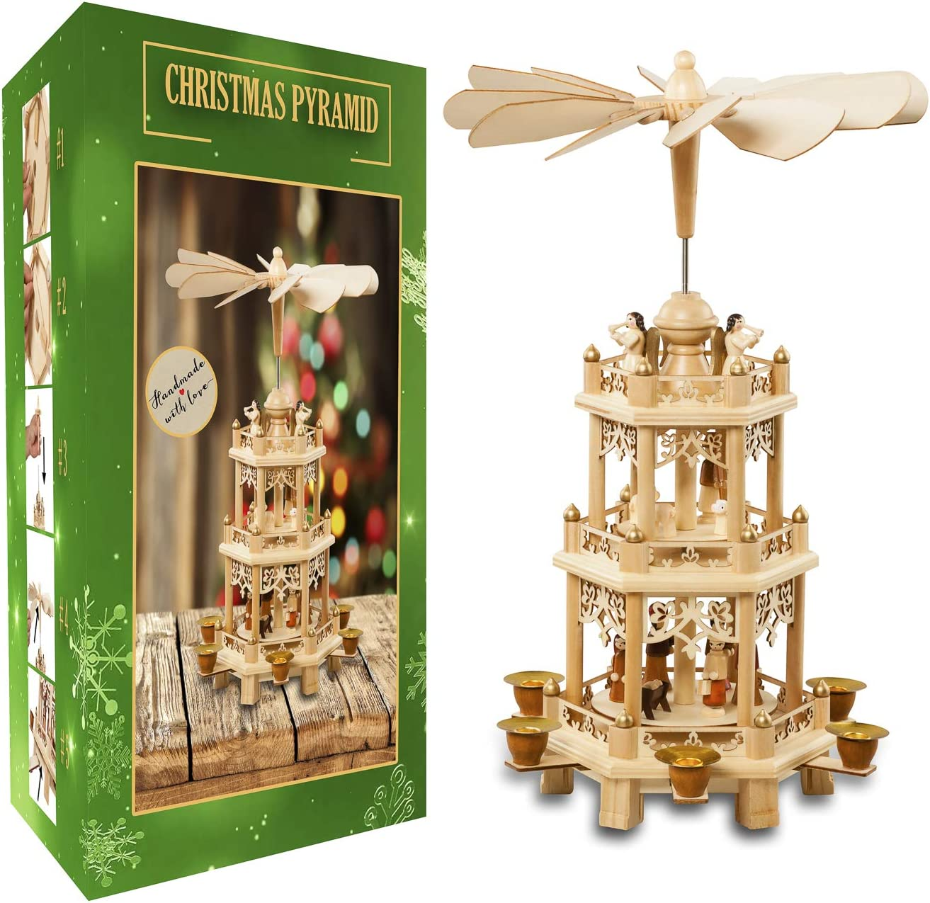 German Christmas Decoration Pyramid 18 Inches - Wood Nativity Scene Set - Under the Christmas Tree and Table Top Holiday Décor-Nativity Play 3 Tiers Carousel with 6 Candle Holders - German Design.