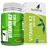 NutriZing's Vitamin K2 ~ High Strength 600 MCG MK-7 ~ Fermented Natto Based Vitamin K ~ 90 vegicaps ~ Suitable for Vegetarians ~ Maintenance of Normal Bones ~ FREE BONUS E-BOOK
