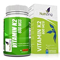 NutriZing's Vitamin K2 ~ High Strength 600 MCG MK-7 ~ Fermented Natto Based Vitamin K ~ 90 vegicaps ~ Suitable for Vegetarians ~ Maintenance of Normal Bones ~ FREE BONUS E-BOOK