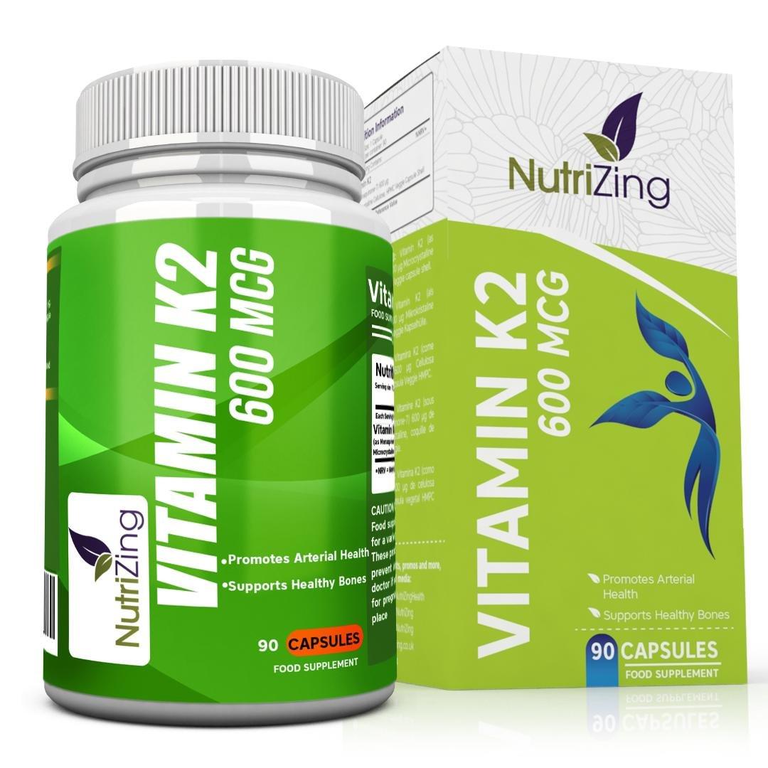 NutriZing's Vitamin K2 ~ High Strength 600 MCG MK-7 ~ Fermented Natto Based Vitamin K ~ 90 vegicaps ~ Suitable for Vegetarians ~ Maintenance of Normal Bones ~ FREE BONUS E-BOOK product image