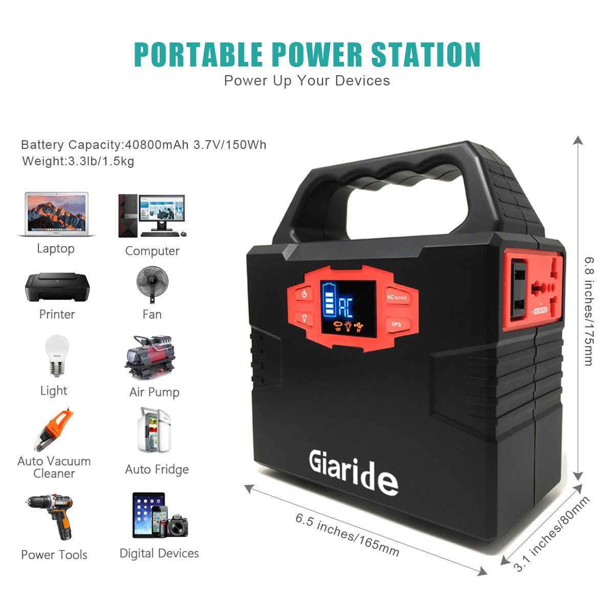 Charged by Solar Panel//Wall Outlet//Car Dual 110V AC Outlet 3 DC 12V Giaride 150Wh Solar Power Inverter 40800mAh Battery Pack Camping CPAP Emergency UPS Power Station 2USB Ports Portable Generator