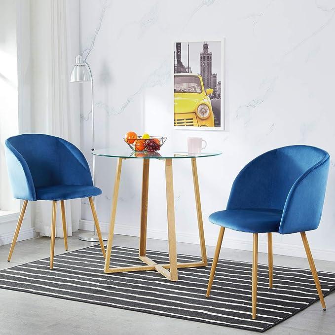 IPOTIUS Pack 2 Sillón Lounge Terciopelo Retro, Silla de Comedor/Cocina Sillas Nordicas Tapizadas con Patas Metal Fuertes y Tela de Terciopelo Sedoso, Azul: Amazon.es ...