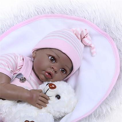 "Black Skin Reborn Baby Dolls African American Realistic Biracial Baby Dolls 22/"""