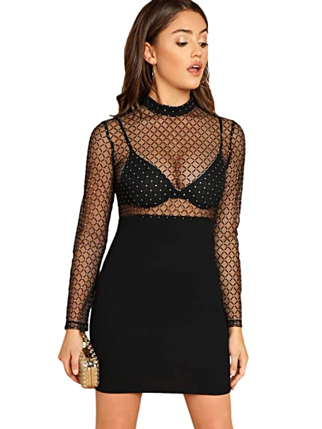1e1b079849 SheIn Women's Sexy Long Sleeve Sheer Mesh Party Bodycon Dress at Amazon  Women's Clothing store: