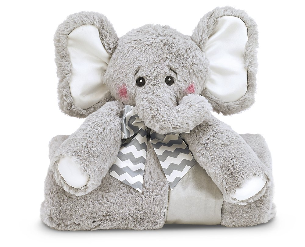 Bearington Baby Lil' Spout Cuddle Me Sleeper, Gray Elephant Large Size Security Blanket, 28.5'' x 28.5''