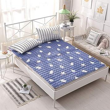 Love House Protector de colchón Lavable de algodón Premium, del Delgado colchón hipoalergénico Tatami Alfombrilla Plegable para Camping casa de Viaje-Azul ...