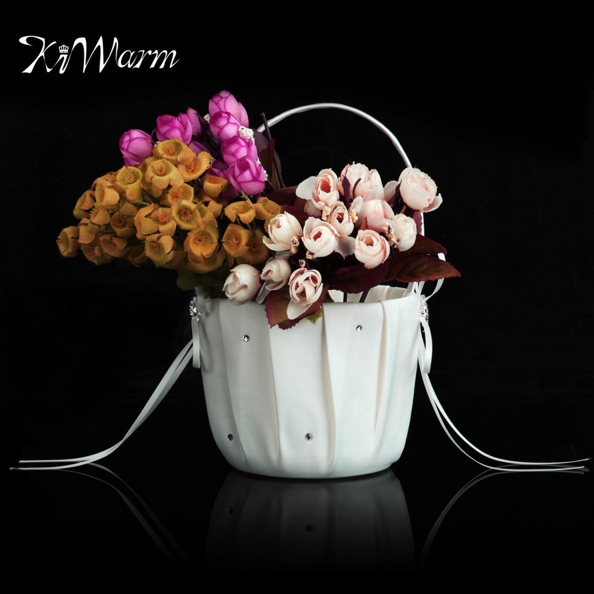 White Satin Double Love Heart Wedding Bridal Party Flower Girl Basket For Home Party Ornament Decor Craft