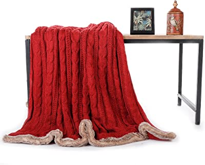 "Battilo Cable Knitted Chenille Faux Fur Serging Throw Blanket with Sherpa Lining for Bed Sofa Couch Decor Super Soft Cozy Blanket (Red, 49"" x 79"")"