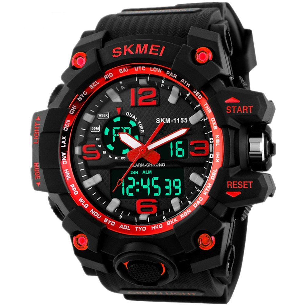 Men's 1155 Multifunctional Outdoor Sports Dual Time Analog Digital Wrist Watch Red