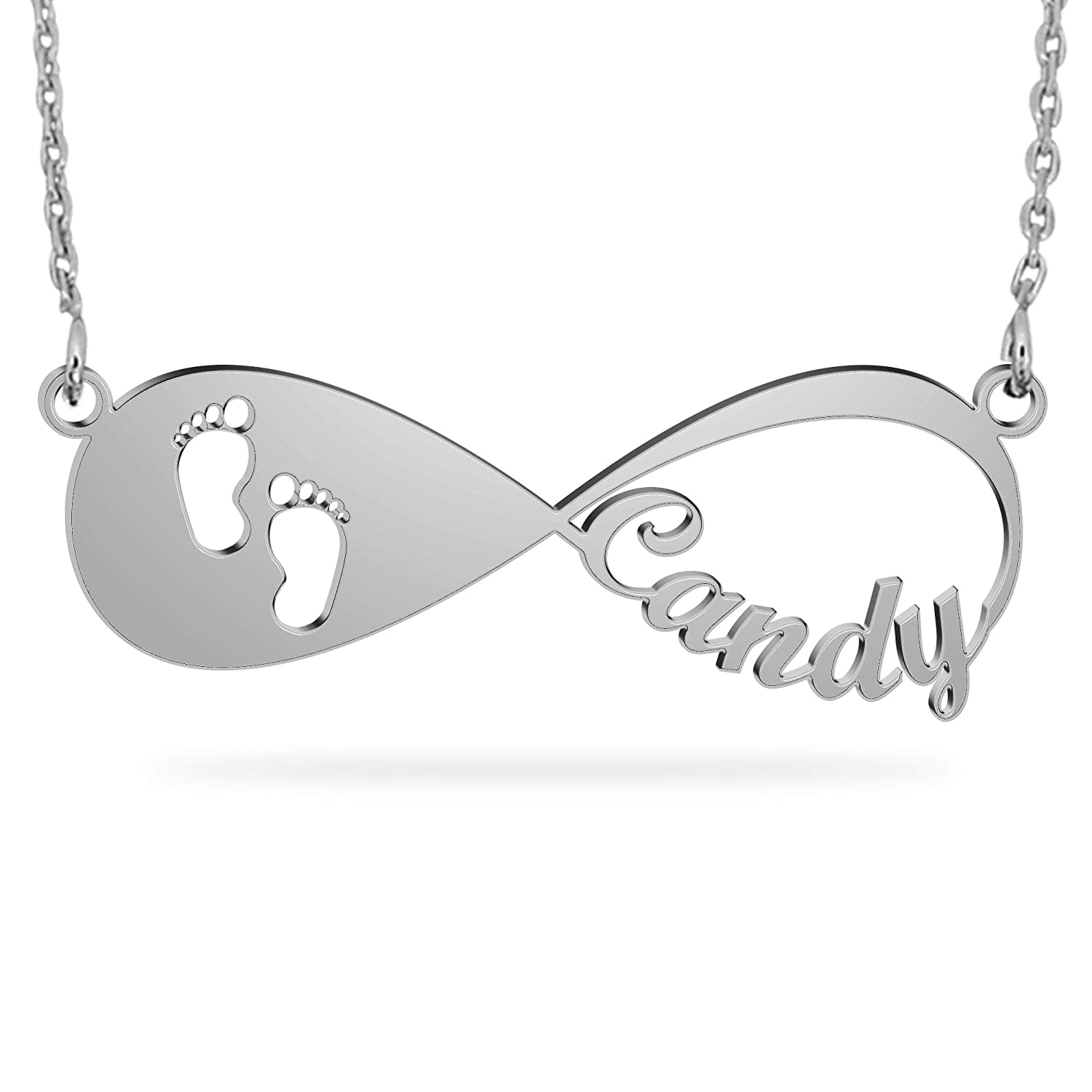 Personalized Sterling Silver Infinity Necklace with Names Custom 18K Gold Plated Name Necklace Eternal Jewelry