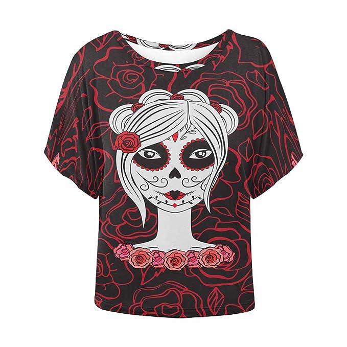 Womens Day of The Dead Sugar Skull Short-Sleeve Crewneck T-Shirt Print Tees Shirt Short Sleeve T Shirt Blouse Tops Black