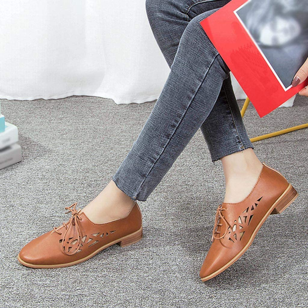 Hot! Women Pointed Toe Single Shoes GoodLock Ladies Summer Lace-Up Square Heel Hollow Pure Color Beach Breathable