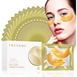 24K Golden Collagen Eye Pads - Gel Eye Mask for Eyes Treatment Puffiness Anti Aging Removing Bags Deep Hydration Relieve Dark Circles Under Eye Gel Mask for Women and Men (20 Pairs)