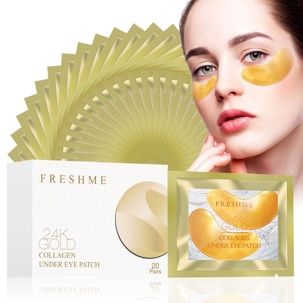 24K Golden Collagen Eye Pads - Gel Eye Mask for Eyes Treatment Puffiness Anti Aging Removing Bags Deep Hydration Relieve Dark Circles Under Eye Gel Mask for Women and Men (20 Pairs) by FRESHME