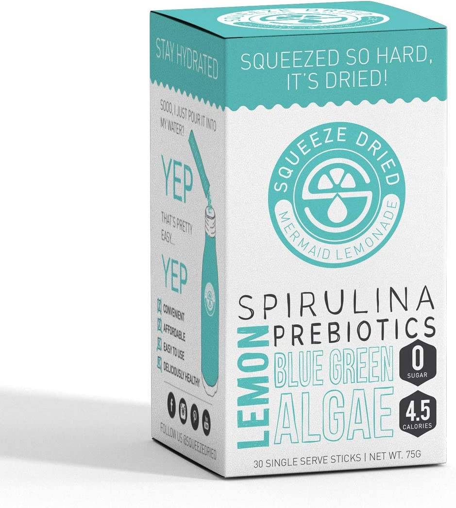 Squeeze Dried Mermaid Lemonade with Spirulina, Blue Green Algae, Lemon Prebiotics – for Natural Protein, Clean Energy, Detox, Vitamins, Gut Health and Vegan – 30 Count Single Serving Sticks