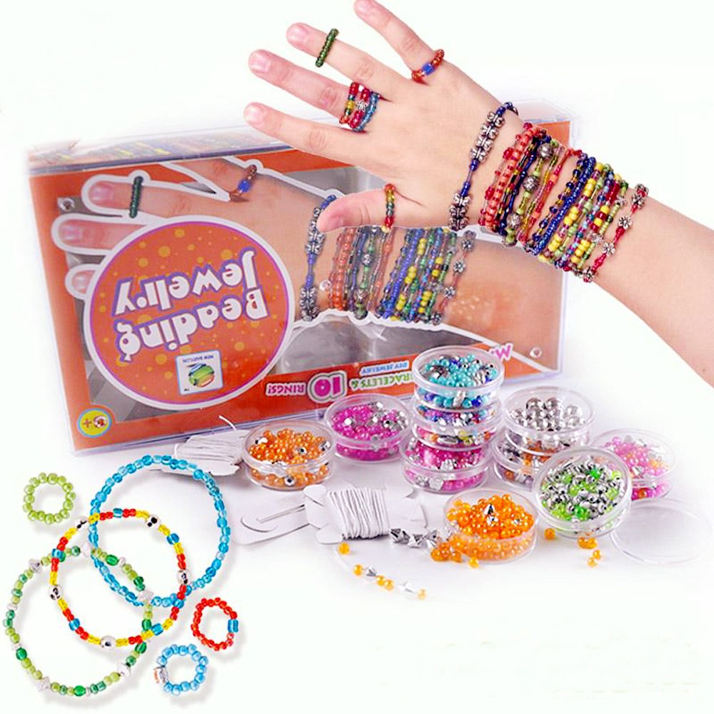 Kids DIY Beads for Jewelry Making Kit,Bead Toy Girls Crafts ages 8-12,Make 30 Bracelets 10 Ring Your Own