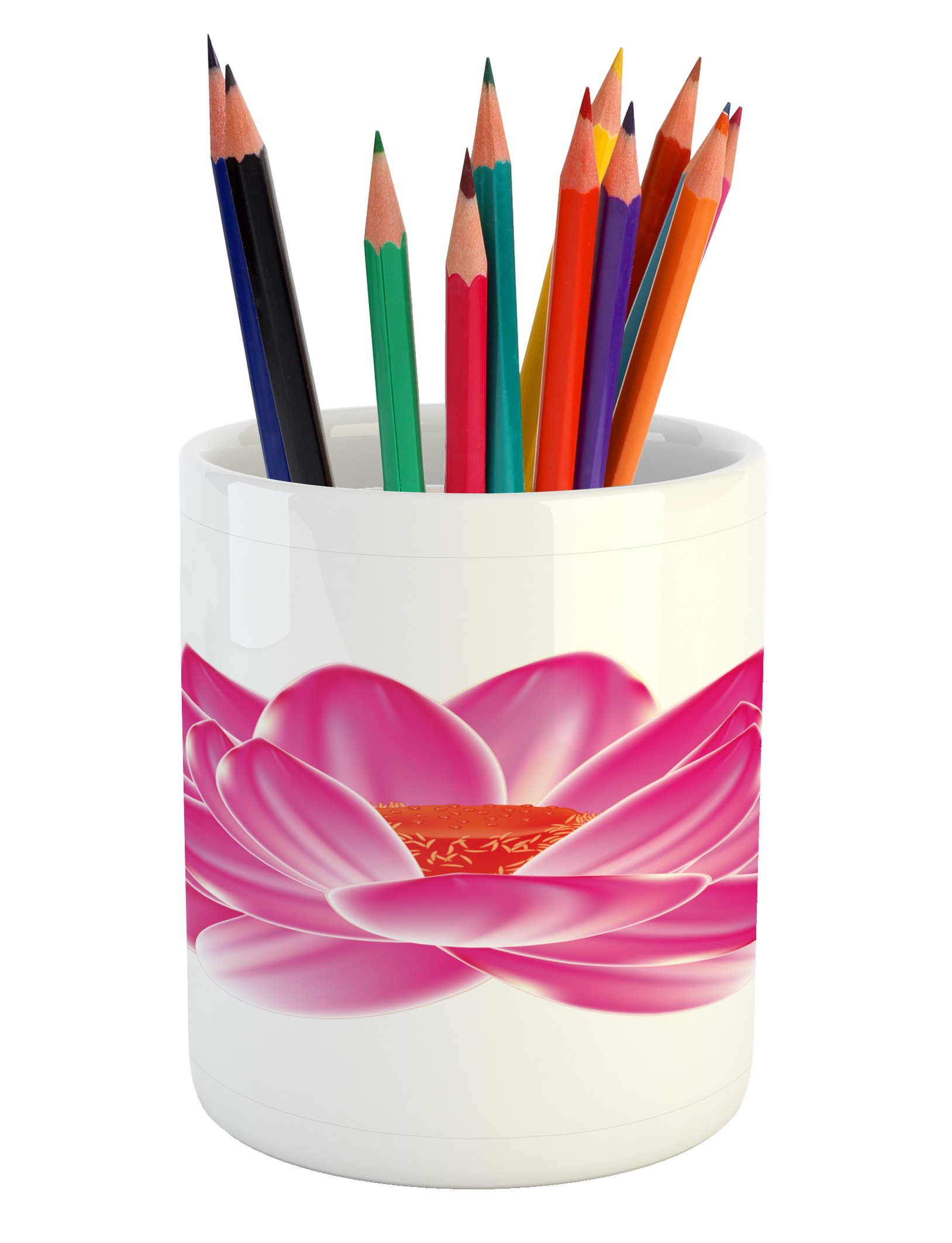 Lunarable Lotus Pencil Pen Holder, Vibrant Lotus Flower Pattern Spa Zen Yoga Asian Balance Energy Lifestyle Artsy Image, Printed Ceramic Pencil Pen Holder for Desk Office Accessory, Magenta Red