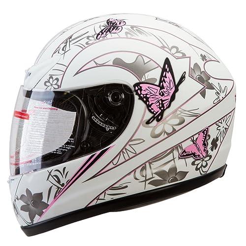 Gloss Pink Japanese Style Motorcycle Street Bike Full Face Helmet DOT (L)