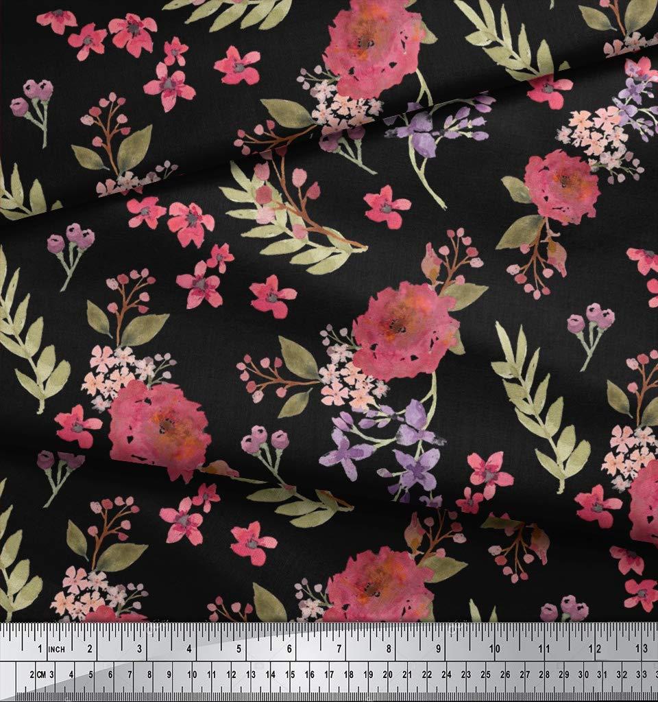 ff8f14b77e50 Soimoi Schwarz Viskose Chiffon Stoff Chrysantheme   Blute Blumen- Stoff  drucken Meter 42 Zoll breit  Amazon.de  Küche   Haushalt