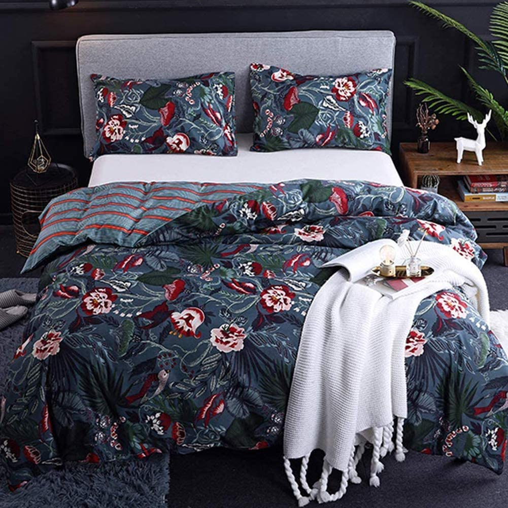 couturebridal dark blue boho bedding sets queen size floral bird leaves pattern printed with zipper ties reversible striped duvet cover set luxury