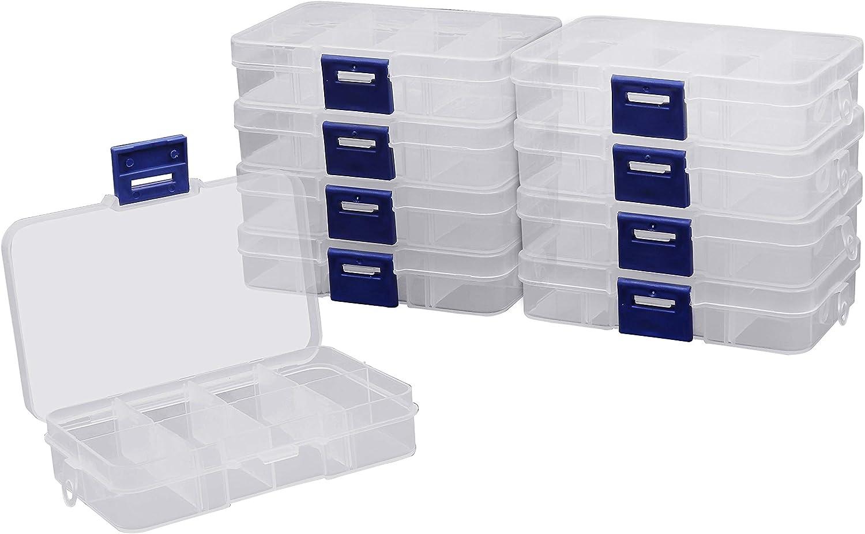 BELLE VOUS (Pack de 10) Cajas de Almacenaje Abalorios 8 Compartimentos - Cajas Organizadoras de Plastico Ajustable para Joyas - Estuche para Pendientes, Hacer Bisutería y Pequeños Accesorios