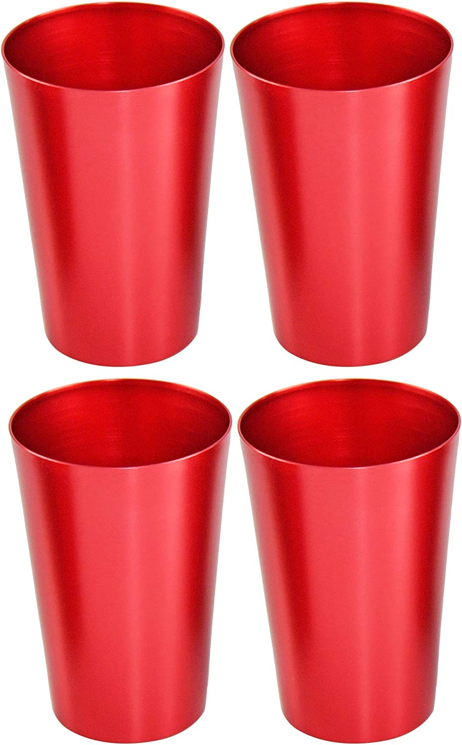 HOME-X Colorful Aluminum Drinking Cups Set of 4, Colored Metal Tumblers, Shatter Resistant, Stackable, Metallic Red
