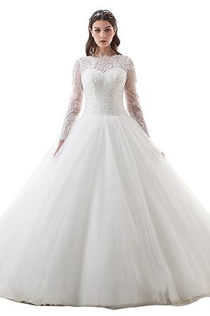 Amazon.com: kelaixiang Womens V -Back Bridal Gowns Long Sleeve Lace ...